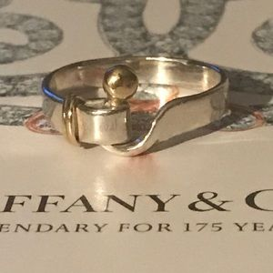 TIffany & Co. 18k & Silver Hook and Eye Ring